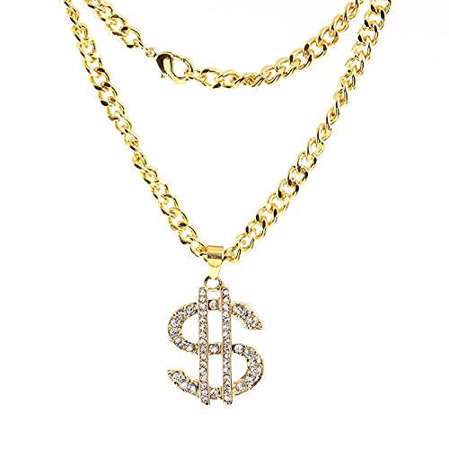 Collar De Dólar Exagerado Con Diamantes Incrustados Con Símbolo De Dólar Colgante De Joyería
