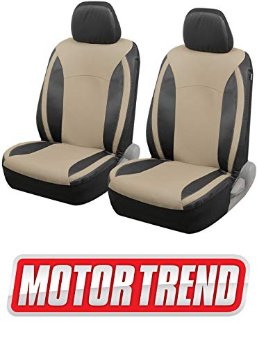 Motor Trend M424 Beige Synth Leather Snake Eyes Car Seat Covers, Fronts Only – Universal Fit for Auto Truck Van SUV