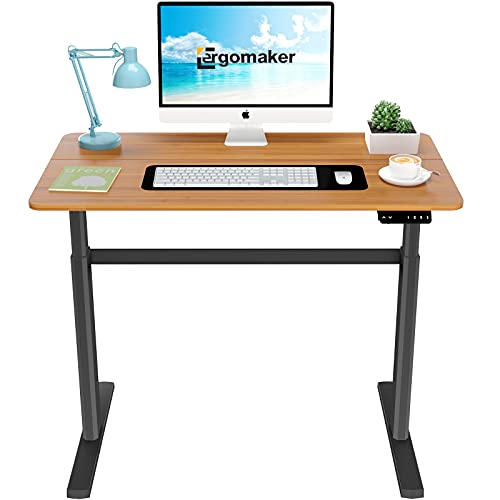 ERGOMAKER Escritorio eléctrico de pie de altura ajustable para oficina en casa (110 x 60 cm, marco negro + escritorio cereza)