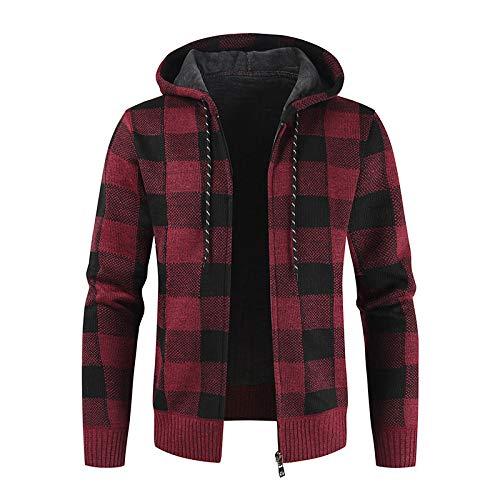Chaqueta suéter con Capucha y cordón para Hombre, Negro, Gris, Estampado a Cuadros, Engrosamiento, cálido, Sencillo, versátil, Informal, suéter XX-Large