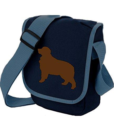 Berner Sennenhund Tasche Reporter Tasche Schultertasche Berner Silhouette Berner Hund Geschenk Farbauswahl, Blau - Brauner Hund auf blauer Tasche - Größe: Small/Medium