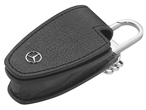 Mercedes-Benz Schlüsseletui Rindleder/Edelstahl, schwarz