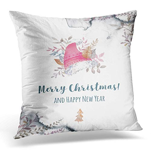 N\A Throw Pillow Cover White Cap Watercolor with Red Pointed Hat Fairy Character Warm Wishes Ready to Natural Tints Hygge Style Decorative Pillow Case Home Decor Pillowcase