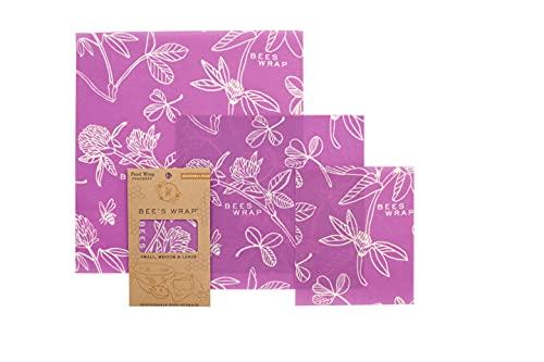Bee's Wrap Juego de envoltorios de 3tamaños Surtidos, Color Morado