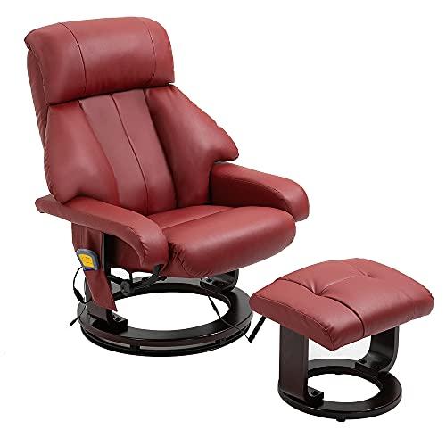 Mingone TV Massagesessel Relaxsesse Wärmefunktion Fernsehsessel l Sessel Ruhesessel Liegesessel Polstersessel Weinrot Kunstleder Relaxliege (Weinrot, 82 x 83 x 108 cm)