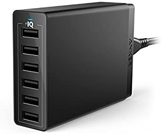 Anker 60W 6-Port USB Wall Charger, Powerport 6 for iPhone X/ 8/7 / 6S / Plus, iPad Pro/Air 2 / Mini/iPod, Galaxy S7 / S6 / Edge/Plus, Note 5/4, Lg, Nexus, HTC and More