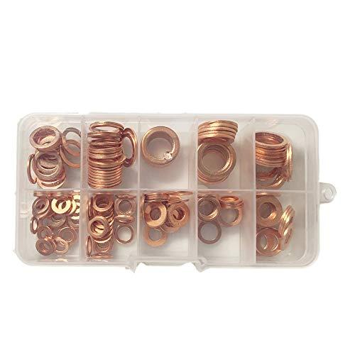 JVJ 200 stuks koperen ringen assortiment afdichtringen koperen ring, koperen afdichtingsset, koperen sluitringen, hardware accessoires solide koper