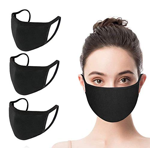 |Set of 3| Unisex Mouth_Mask Adjustable Anti Dust Face Mouth_Mask,Black Cotton Face_Mask for Cycling Camping Travel