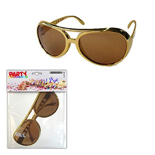 PARTY DISCOUNT ® Coole Brille Gold - Elvis, Rapper, Hippie & Co.