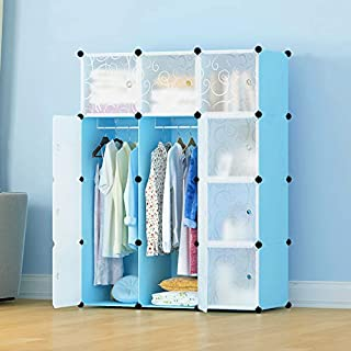 DIY Furniture 12 Cube Multi-Purpose Waterproof Wardrobe/Closet Storage for Clothes Shoes Books Toys with Doors 111x37x147 cm (Blue)