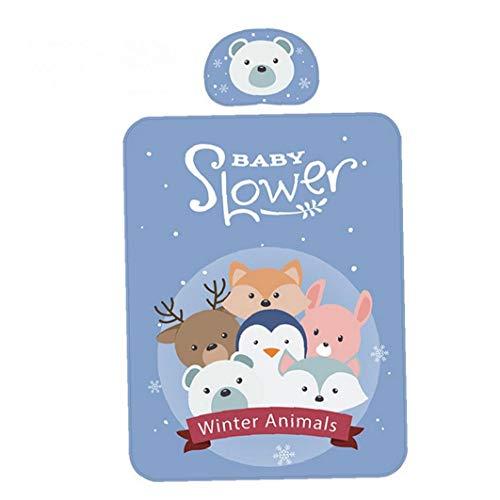 1set Baby-Sommer-kühle Matte Tiere Muster Baby-Bett-Pad Breathable Ice Silk Schlaf Matratze-Urin-Auflage mit Kissen Blau