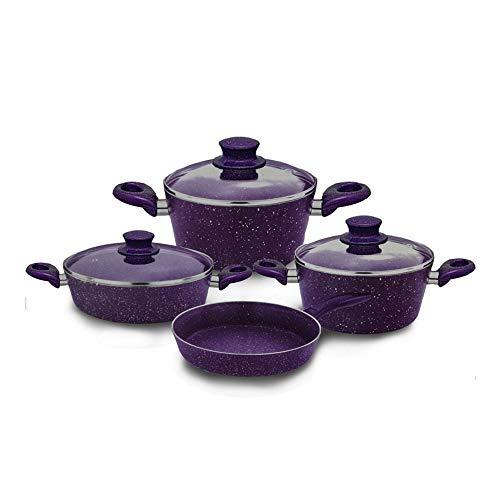 Nurdanil 7-piece purple granite, glass lid pot set, fireproof non-stick surface, 3 pots, 1 pan set