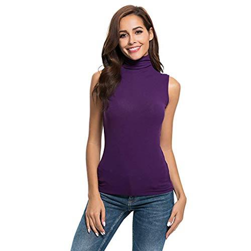 iHENGH Damen Top Bluse Bequem Lässig Mode T-Shirt Sommer Blusen Frauen Ärmelloses festes, schmal geschnittenes Damen Rollkragen T-Shirt für Damen Top Bluse(Lila, L)
