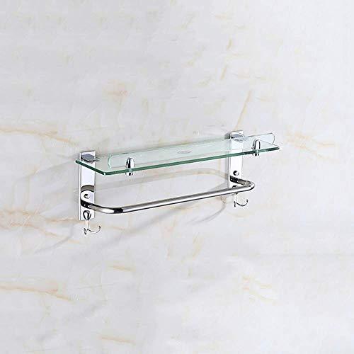 Boaber Estante de vidrio templado para ba?o, barra de toalla de acero inoxidable, soporte de almacenamiento montado en la pared, carrito de ducha, estante para ba?o con 4 ganchos para champú, gel de d