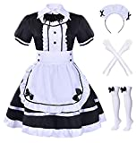 Japanese Anime sissy Cosplay Sweet Classic Lolita Fancy Apron Maid Dress with socks gloves set (Black)(XL = Asia XXL)(NY01)