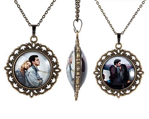 Fanery Sue Personalized Photo Necklace Vintage Retro Pendant Necklace Custom Picture Image Antique Brass Memorial Jewelry(Round)