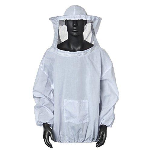 Binnan Apicoltura Cappotto Velo Apicoltura Cappotto Protettivo Apicoltura Tuta Protettiv in Cotone Bianco Professionale con Cappello e Velo
