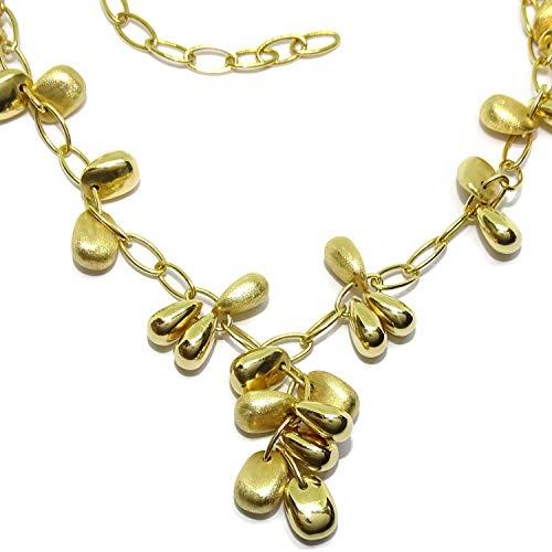 Never Say Never Collar para Mujer de Oro Amarillo de 18k con 27 Pepitas de Oro, Cierre mosquetón, Todo de Oro de 18k. 45cm de Largo.
