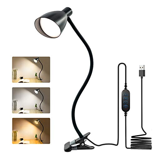 ERAY LED Schreibtischlampe Dimmbar, Klemmleuchte LED USB 3 Lichtfarbe / 10 Helligkeitsdimmer / Auto-Off / Timer / 360 ° Flexible LED Leselampe 38 LED / 7W LED Schreibtischlampe Klemmbar, Schwarz