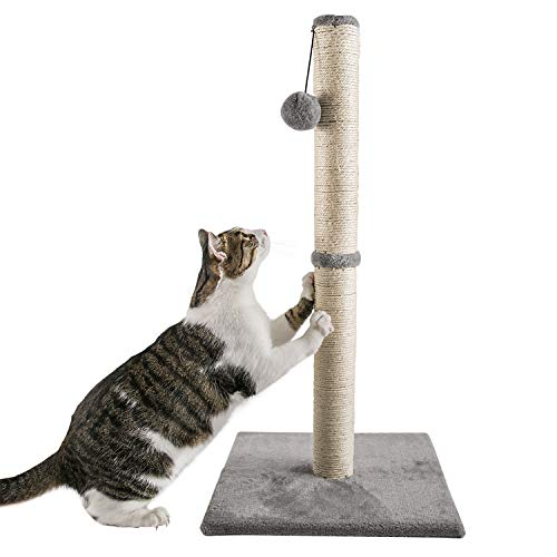 Qucey 32 Inches Tall Cat Scratching Post, Claw Scratcher with Sisal Rope Include a Cat Interactive Plush Ball Toy