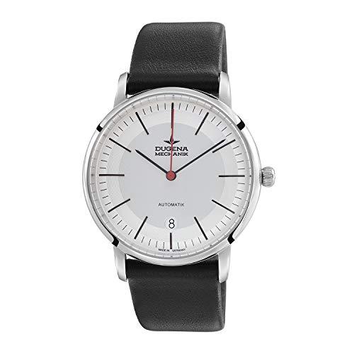 DUGENA Reloj de pulsera para hombre 7000361-1 Festa Bauhaus, automático, esfera blanca, caja de acero inoxidable, cristal de zafiro, correa de piel, hebilla, 5 bar