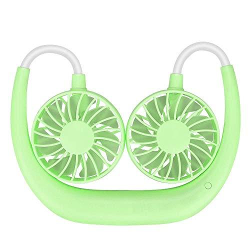 ZZQYY Mini Manguera Colgante Cuello Ventilador luz Soporte portátil Enfriador de Aire Lindo Ventilador Creativo Colgante Cuello Escritorio Ventilador para el hogar Green