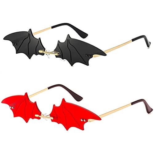 BOJOD Bat Shaped Sunglasses For Women Goth Glasses Funky Novelty Rimless Eye Glasses for Halloween Party Black+Red