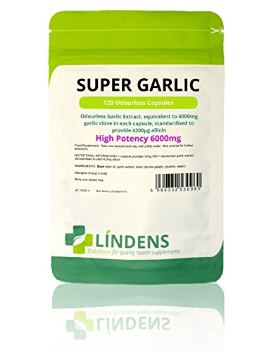 "Lindens Garlic 6000mg Odourless Capsules (""Super Garlic"") (365 Pack)"