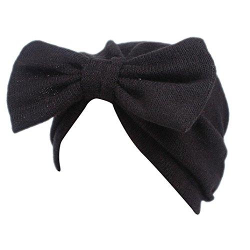 Rameng- Bandeau Cheveux, Bowknot Belle Chapeau Bohème Chapeau écharpe pour Enfants (Noir)