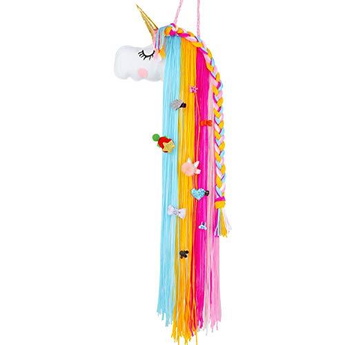 Hifot Niña Unicornio Pinza Pelo Organizador, Lazos Pelo Horquillas Pelo Clips de Pelo Accesorios Pelo Gomas Pelo Colgante Almacenamiento, niños Unicorn Decoración de Pared habitación