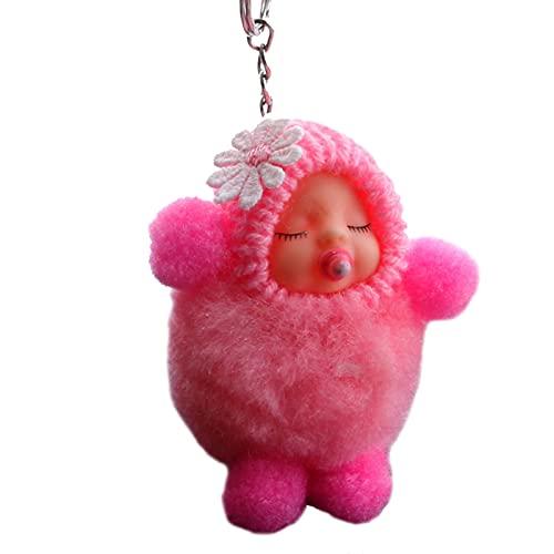 litong Llavero de felpa lindo bebé dormido muñeca mujer bolsa de juguete llavero de peluche llavero bolsa colgante encanto bebé niños regalo (color: rosa)