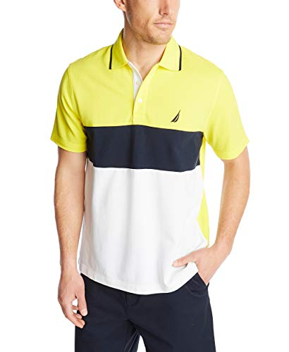 Nautica Men's Short Sleeve 100% Cotton Pique Color Block Polo Shirt, Blazing Yellow, Large
