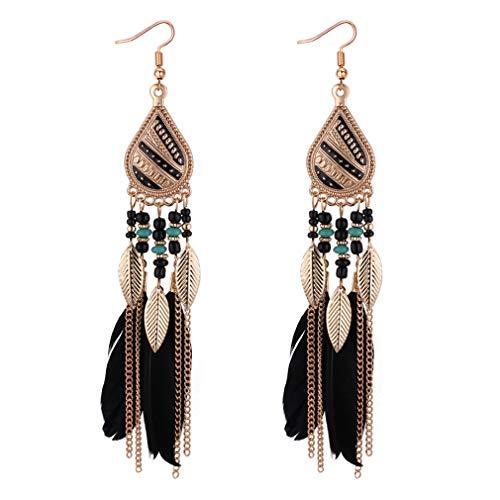 YAZILIND plumas de las mujeres pendientes bohemio estilo borlo colgante pendiente de las niñas mujeres joyería de fiesta (negro)