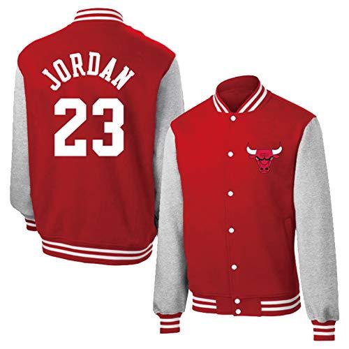 KJX Bulls Basketballjacke für Männer, atmungsaktive einreihige Trikot Pullover Training Sweatshirt Unisex Casual Young Sportswear Geschenk (S-XXXL) red-XXXL