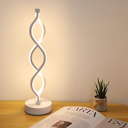 Spiral Light Lamp Dimmable LED Bedside Table Lamp USB Lamps Modern Curved LED Desk Lamp 3 Color Mode Transform Minimalist Night Stand Reading Light for Bedside Sofa Side,Living Room