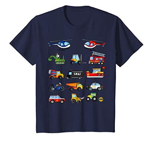 Kinder Fahrzeuge Shirt Traktor Bagger Polizei Feuerwehr Auto T-Shirt