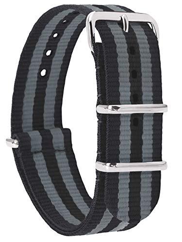 MOMENTO Correa de Reloj de Zulu Nailon para Mujer y Hombre con Hebilla de Acero Inoxidable en Plateado y Tela de Rayas en Negro Gris - 22mm