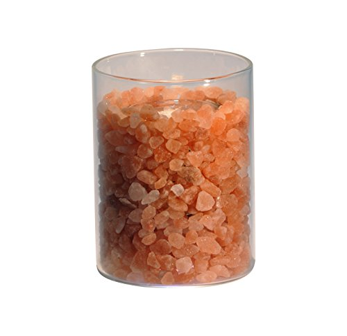 HIMALAYA SALT DREAMS – zoutkristal vuur in glas, Ø ca. 8 cm en hoogte ca. 11 cm, inclusief witte palmwas kaars.