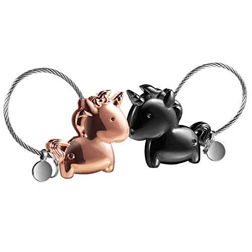 LHKJ 1 par Llavero Pareja Unicornio, Llavero para Pareja Amantes Valentines Sweet Regalo Llaveros con Boca magnética, para Amantes Mujer Hombre (Negra + Oro Rosa)