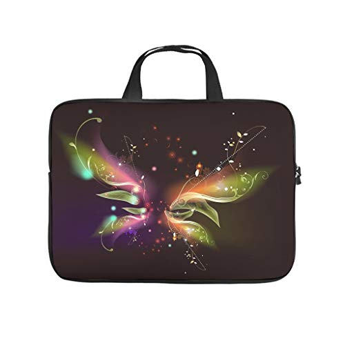 magic butterfly glowing darkground Laptop bag Pattern Laptop Case Bag Soft Anti-Scratch Computer Protective Bag with Portable Handle for Women Men white 15 zoll