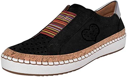 Damen Slip On Sneaker Plateau Low Top Mokassins Flache Loafer Bequeme Halbschuhe Leicht Atmungsaktive Freizeit Schuhe Celucke (Schwarz, 39 EU)