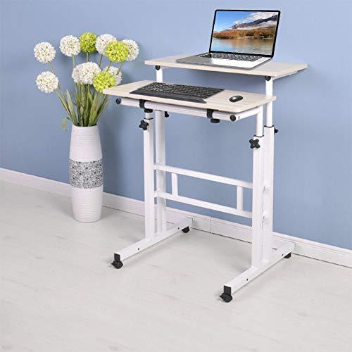 Dioche Escritorio para portátil de 60 cm de altura ajustable con ruedas, escritorio de pie y diseño de ranura, asiento de pie con plataforma superior inclinable (arce blanco)
