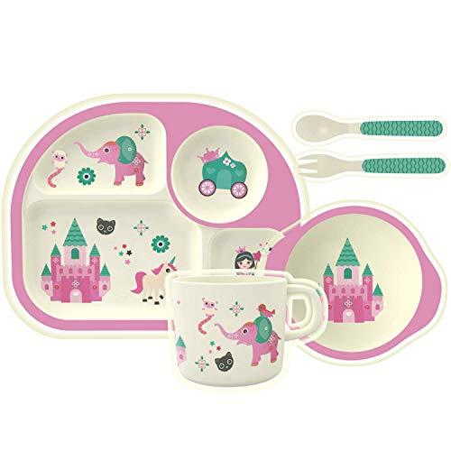 H HOMEWINS 5-Teilig Kindergeschirr aus Bambus - Teller, Schüssel, Löffel, Gabel, Tasse, BPA Frei Kinderbesteck Umweltfreundlich Geschirr Set für Babys Toddler (Prinzessin)