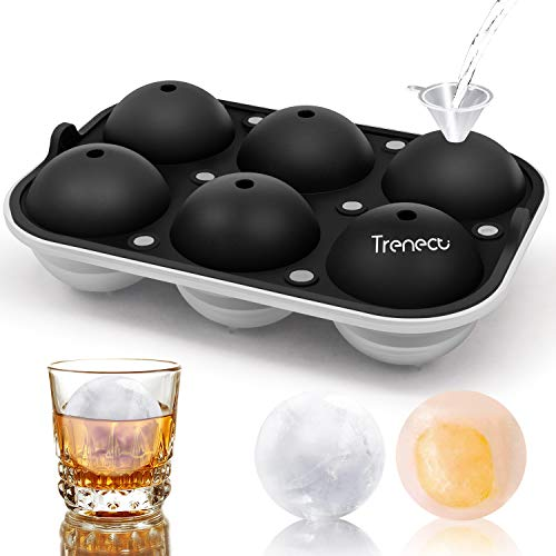 Trenect Large Ice Cube Trays, Ice Balls for Whiskey 2.5 Inch, Easy Release Silicone Ice cube Tray with lid, Novelty Round Ice Cube Mold for Cocktail, Coffee, No Side Leakage Ice Ball Maker (Black)
