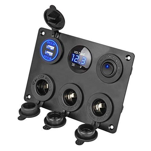 EEEKit 6 in 1 wasserdichtes Multifunktionspanel, mit 12 V Steckdose, Dual USB-Ladegerät, Blauer LED-Voltmeter, beleuchteter Kippschalter für RV Truck Marine Boat Trailer