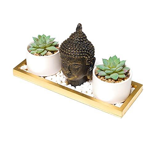 Buddha Statue & Succulent Coffee Table Decor- Buddha Head Statute-Wooden Display Tray & Stones| Buddha Decor for Home Decor. Beautiful & Peaceful. Great Meditation Decor.