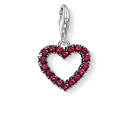 Thomas Sabo - Charm con Cierre para Mujer 'Corazón con piedras rosas ', Plata de Ley 925, con Circónitas
