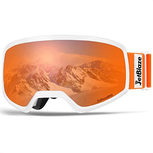 JetBlaze Ski Snowboard Snow Goggles, Dual Layers Lens Anti-Fog UV Protection Spherical Goggles for Men Women Youth Adult (Orange)