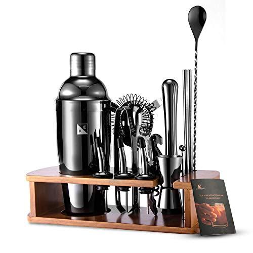 KITESSENSU Cocktail Shaker Set 17 Pezzi Kit da Barman Professionale Completo con Supporto | Bevande Mixer Set - Strumenti da bar: Jigger, Strainer, Cucchiaio frullatore | Nero
