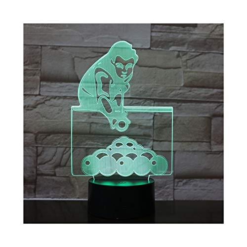 Luz De Noche Acrílica Led De Billar 3D con 7 Colores Control Remoto Táctil Cambio De Ilusión Decoración del Hogar Luz Niño Niña Fiesta Regalo De Cumpleaños